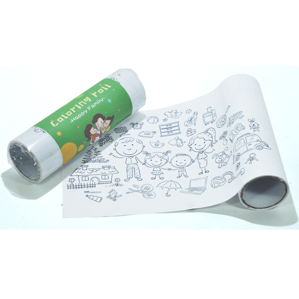 Happy Family Pattern Coloring Roll, Wall Painting, Children Coloring Poster Continuous Coloring Paper, Ages 3+