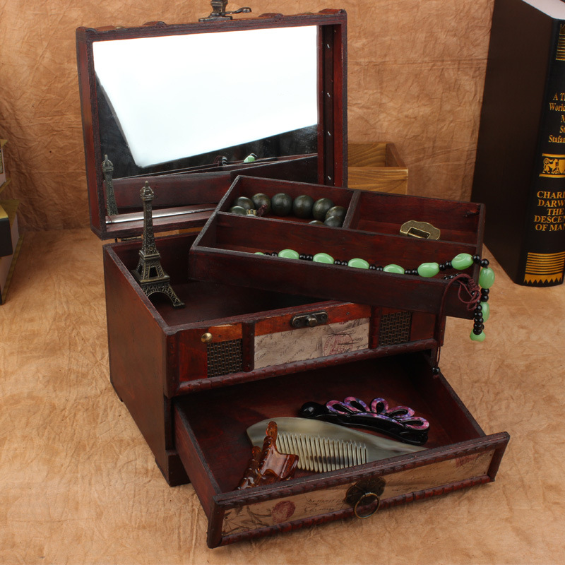 Boîte à bijoux miroir boîte de rangement en bois organiseur de maquillage rangement rétro Caixa Porta Joias Caixa organisadora Cajas organisadoras