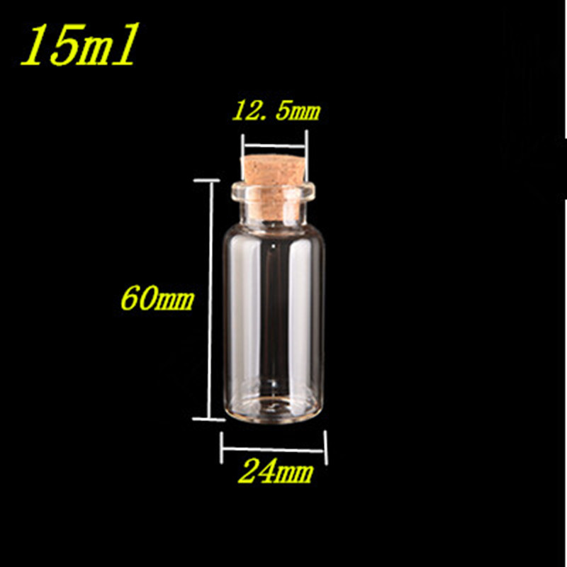 100 pcs 24x60x12 5 mm Small Glass Bottles With Corks DIY 15ml Clear Transparent Glass Jars