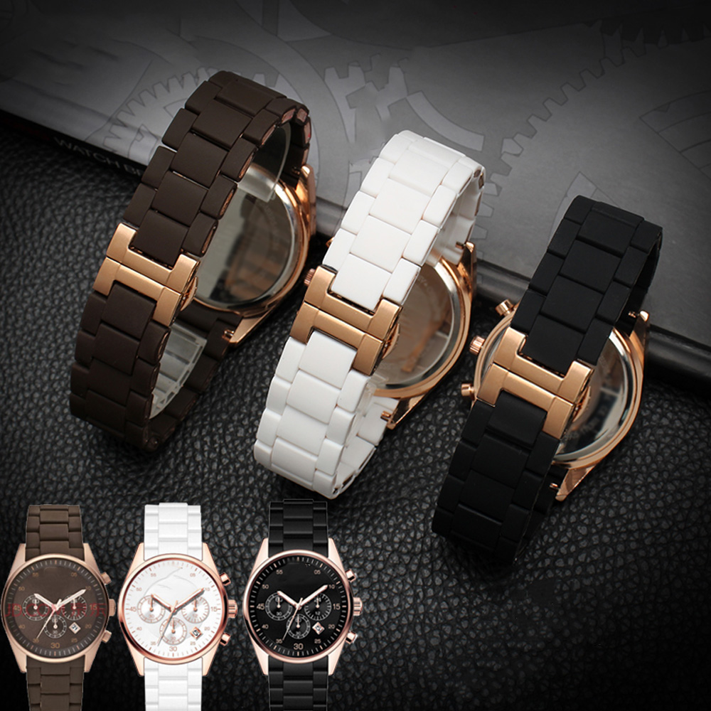20mm 23mm Steel Rubber Silicone Watch Band Apply To Armani AR5905 AR5906 AR5919 AR5920 Watches Wrist Strap Watchband Rosegold