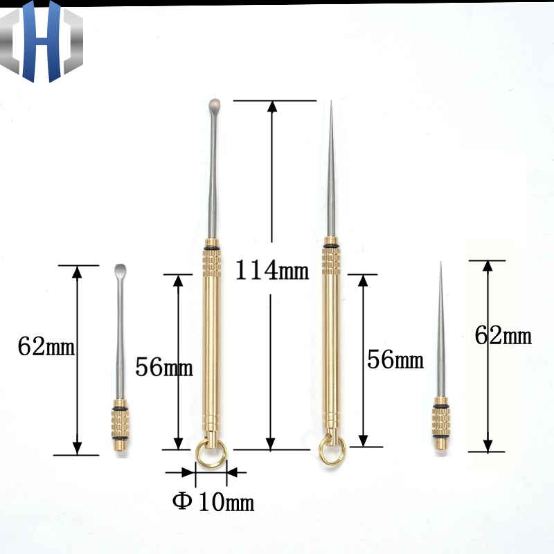 Brass Portable Waterproof Warehouse Titanium Toothpick Combination One Toothpick Holder Titanium Ear Spoon Brass Barrel in Outdoor Tools from Sports Entertainment
