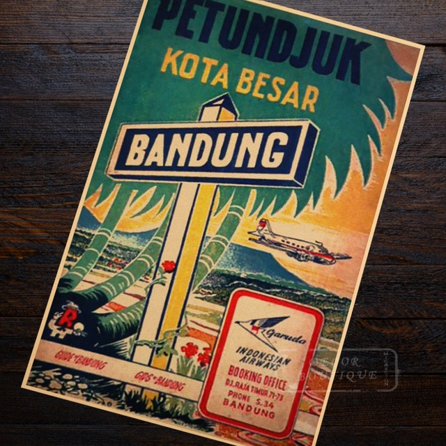 Garuda Indonesian Airways Landscape Trip Travel Retro Vintage Poster Decoration