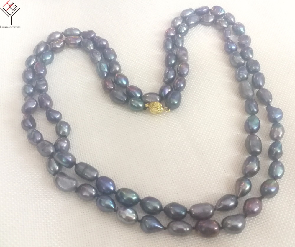 """8X9MM BLACK Freshwater Baroque RICE PEARL NECKLACE 18/"""""""