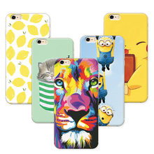 6767d9e231 Fruit Painting Cat lion Minions Phone Cases For Apple iPhone 6 Plus Case  Cover Soft Silicone