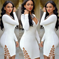 New Fashion Women Vestidos Party Dress Low V Neck Sweat Suits Clubwear Casual dresses Women Bandage Bodycon  Hollow Out dress