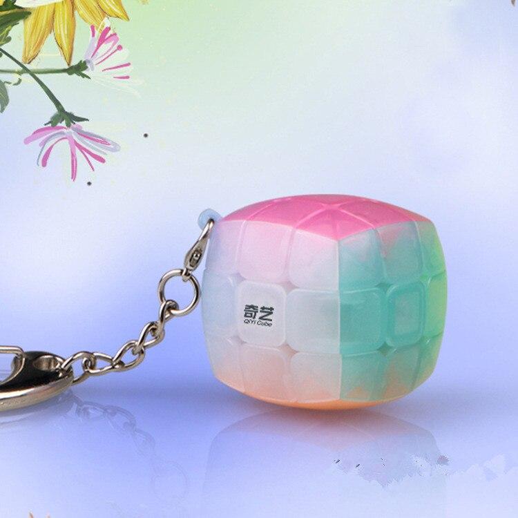 Qiyi 3x3x3  Mini Keychain Jelly Color Bun Cube 3x3x3 Pendant Chain Key Ring Little Steamed Bun Magic Cube Mini Educational Toys
