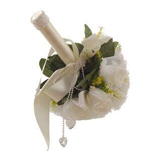 Image 2 - Ramo de flores artificiales blanco para boda, hojas hechas a mano, flores de perlas, Ramos para dama de honor en boda