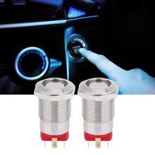 2 Pcs 12mm Metal Push Button Switch 4 Pin Self-Lock with LED Light IP66  Waterproof IK09 for Car Laptop
