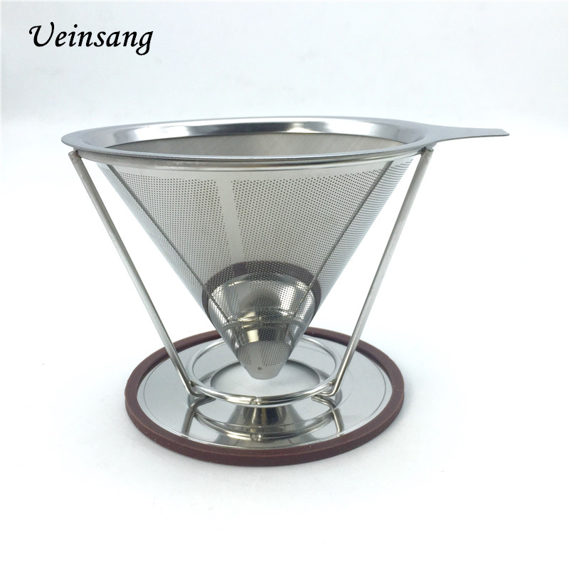 Portable stainless steel coffee filters / reusable V type filter cup filter cone filter drip ...