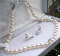 Free Shipping Exquisite 8 9mm Natural White Akoya Pearl Earrings Necklace Set 18