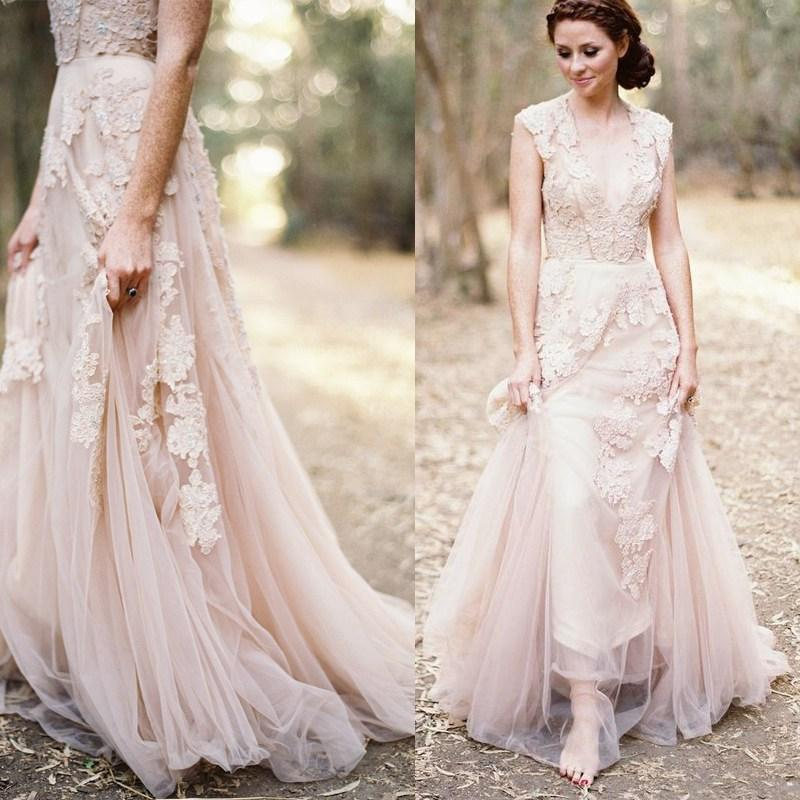Blush Pink Dusty Rose Appliqued Lace Wedding Dresses Country Style A ...