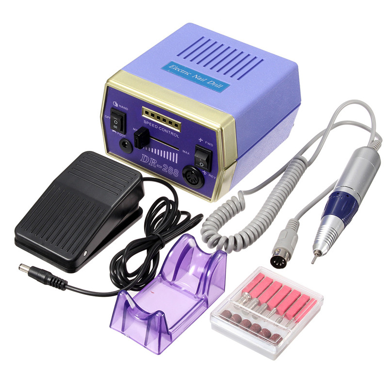 Electric Nail Manicure Set Drill Pedicure Glazing Machine 6 Bits 4000-20000 RPM 110-120V 50Hz 10W, With Foot Pedal pro powerful 25000rpm electric nail drill pedicure manicure machine set with pedal