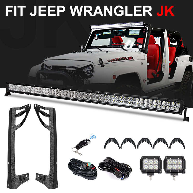 52 inch 300W Offroad LED Light Bar Combo Beam + 2 x 4 inch 18W LED Work Light Flood Beam + Mounting Bracket for Jeep Wrangler JK-in Light Bar/Work Light from Automobiles & Motorcycles    1