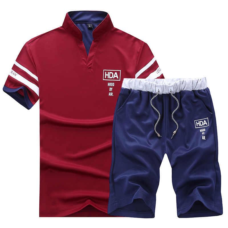 Chándales para hombre 2019 verano Camiseta de manga corta + conjunto de pantalones cortos Casaul Slim Fit traje deportivo hombre Masculino dos piezas conjuntos de Hombre