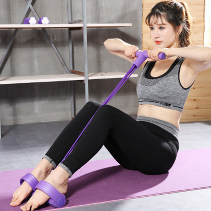 4 Tubes Elastic Pull Rope Expander Workout Pedal Keep Fitness Sports Pedals Resistance Bands Sit-up Exerciser Yoga Pilates Band