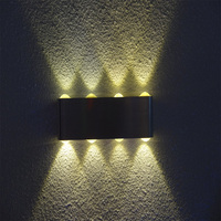 Hole item aluminum square light direct upward and downward 8*1w high power warm white LED wall kitchen lamp on sale