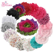 "XIMA 16pcs/lot DIY Handmade 2.5"" Frayed Chiffon Shabby Flower Rose Flower for Hair Mix Colors Kids Hair Accessories(China)"