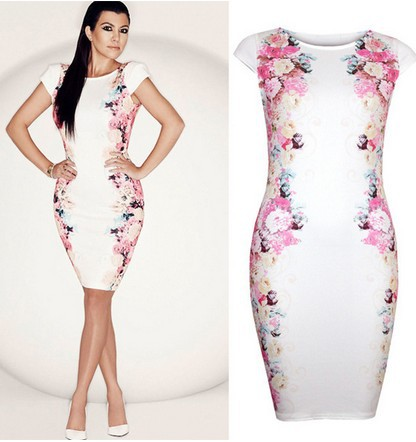 2017 Women Flower Print Dress White Bodycon Casual Pluse Size Slim Elegant Club Party Dresses Vestidos 363 In From S