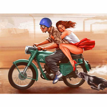 Beauty motorcycle diamond Embroidery diy painting mosaic diamant 3d cross stitch pictures H576
