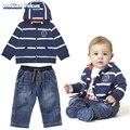 Cheap & Qualidade Baby Boy Roupas Set Roupas Meninos Bonitos 2017 bebes roupas infantis roupas de Algodão Com Capuz Cardigan Listrado + calça jeans 2 pcs conjunto