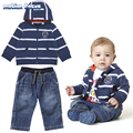 Cheap &Quality Baby Boy Clothes Set Cute Boys Clothing 2017 bebes infant clothes Cotton Hooded Striped Cardigan + jeans 2pcs Set