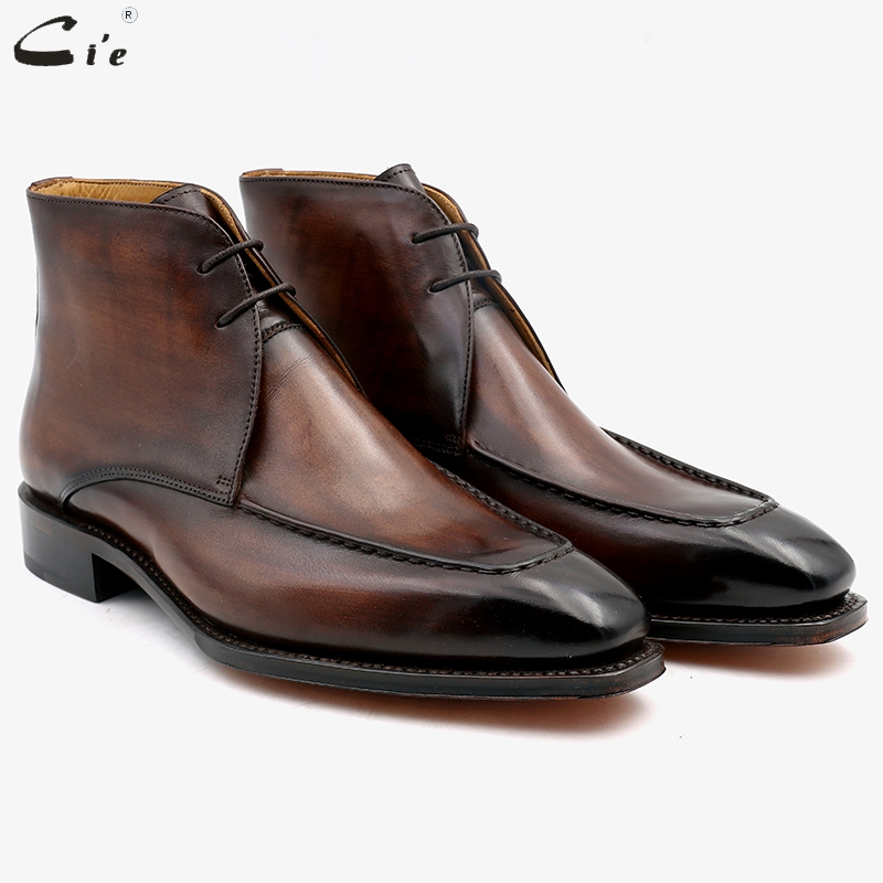 cie square toe full grain genuine calf leather boot patina brown handmade leather lacing derby ankle
