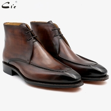 cie square toe full grain genuine calf leather boot patina brown handmade lacing derby ankle boots work uomo scarpe A06