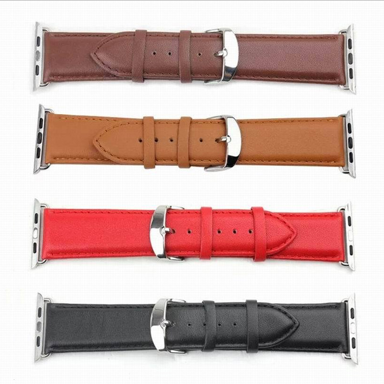 High Quality Litchi Grain PU Leather WatchBand with Connector For Apple Watch/iWatch 38mm/42mm Watchstrap