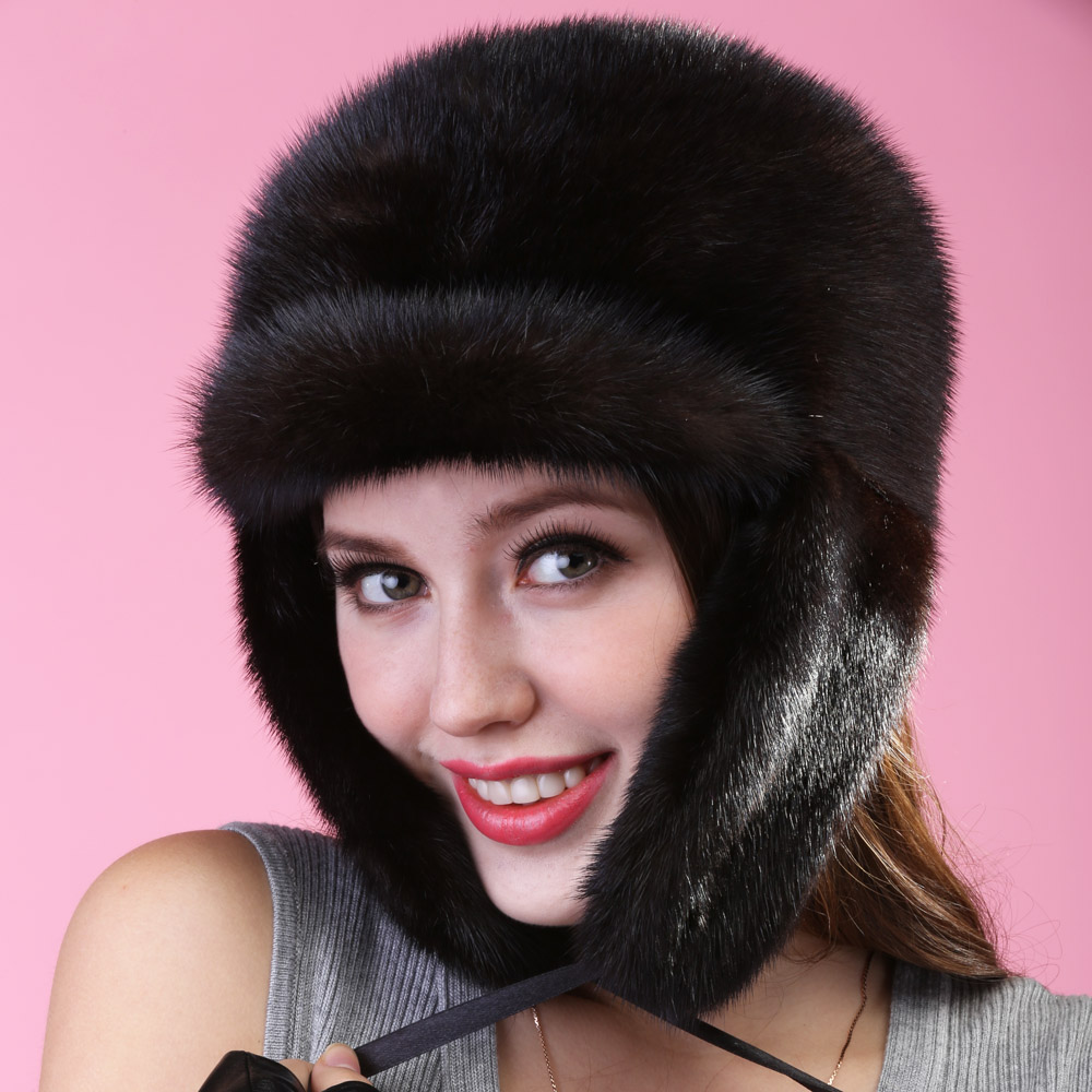 2017 autumn winter mink lady fashion sexy keep ear warm hat headgear hair ear protector cap leather straw hat cap