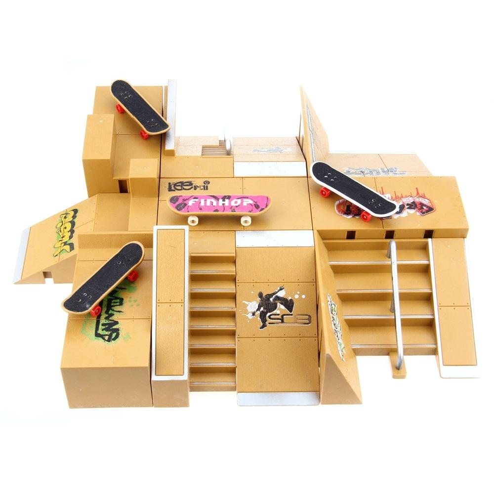 11pcs Skate Park Kit Ramp Parts for Tech Deck Fingerboard Handrail Ultimate Sport Training Props Games Kids Indoor Sport Toys