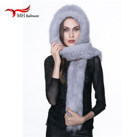 Real Fox Knitted Fur Hat Winter Winter Warm Genuine Fox Fur Scarf Hat Women Winter fashion Casual Knit Hooded Cap Russia H#40