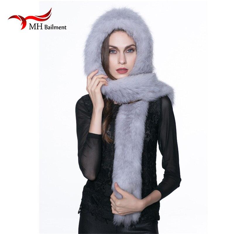 Real Fox Knitted Fur Hat Winter Winter Warm Genuine Fox Fur Scarf Hat Women Winter fashion Casual Knit Hooded Cap Russia H#40