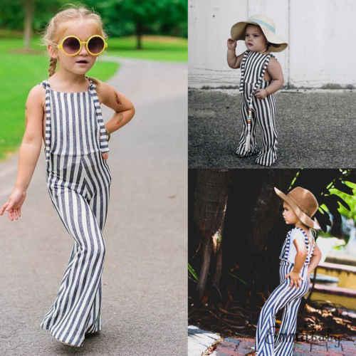 0cd7709ae88d ... HOT NEW Kids Baby Girl Stripe Bell-Bottom Pants Overalls Romper Jumper Infant  Toddler Cute ...