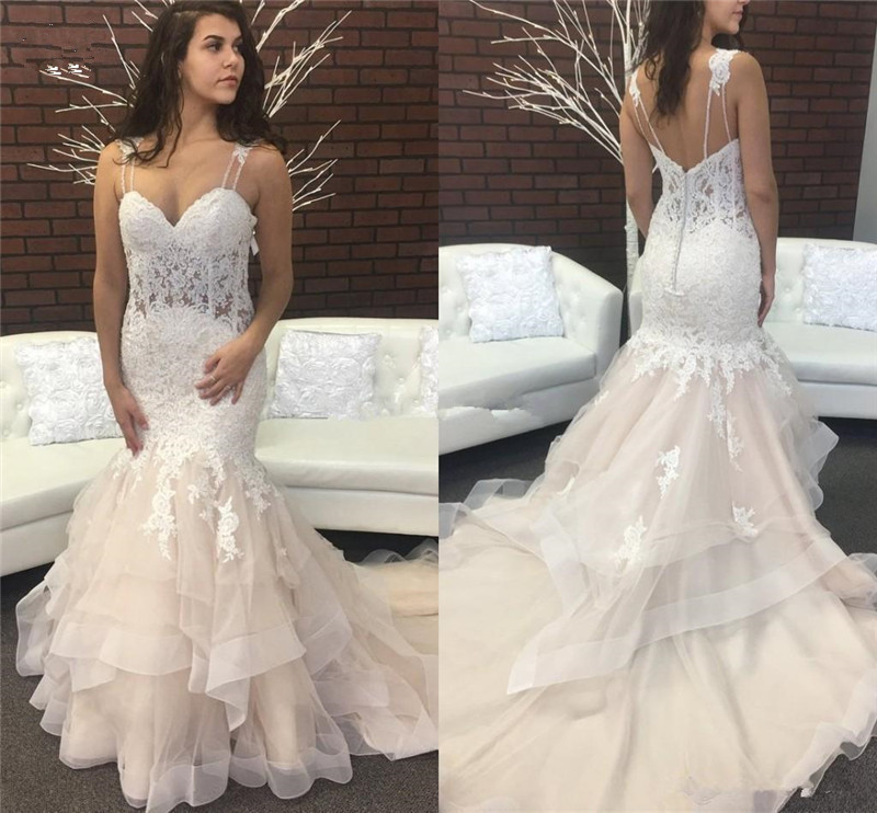 Discount Sweetheart Open Back Lace Tiered Mermaid Wedding