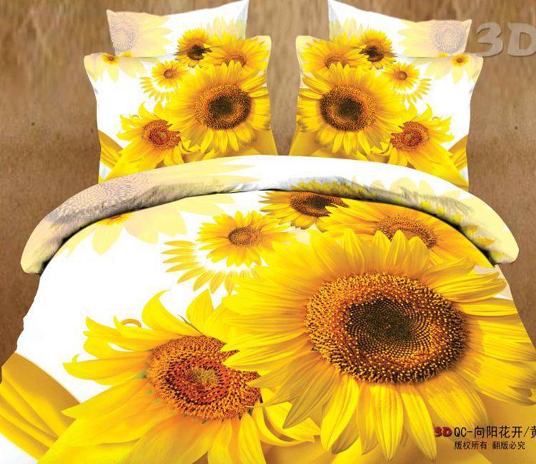 3d Sunflower Designer Bedding Comforter Set For Queen Size