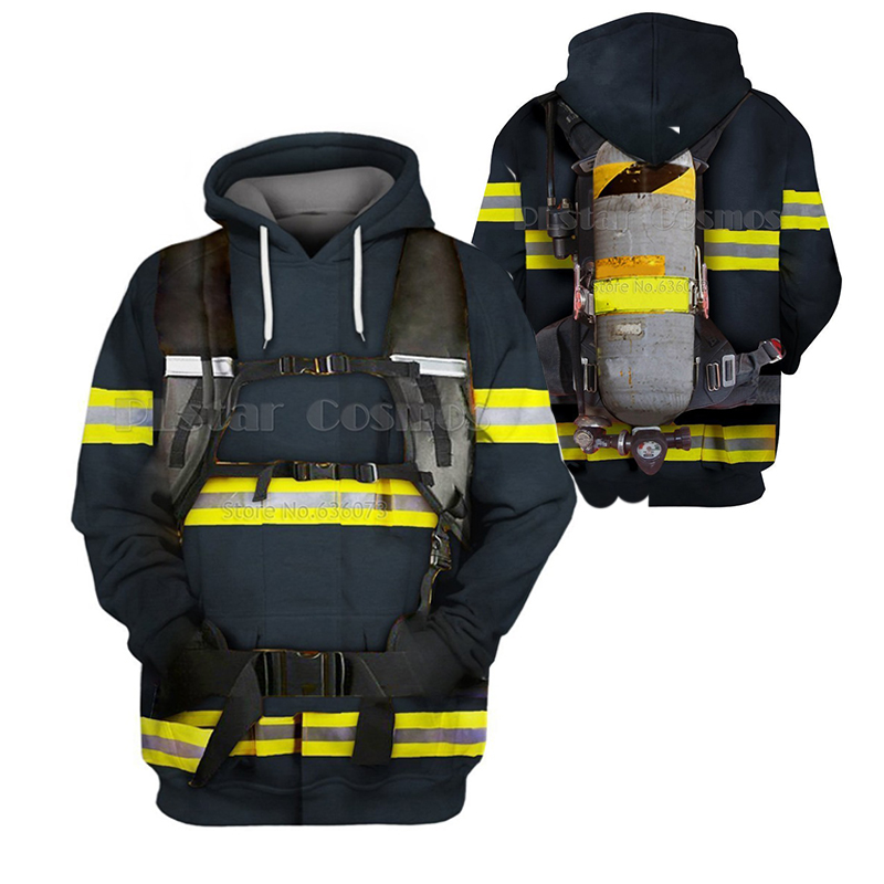 Family Matching Outfits Monther And Daughter Clothes Firefighter Suit Kids 3D Print Hoodies Fireman Sweatshirts/jacket