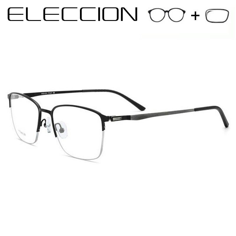Prescription Glasses Men Screwless Eyewear Titanium Alloy Square Myopia Frame Eyeglasses 2018 New Male Light Metal Optical Glass