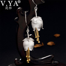 V.YA 3.9CM 925 Silver Women Earrings Elegant Lily of the Valley Flower Earrings S925 Sterling Silver Ladies Jewelry