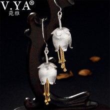 V.YA 3.9CM 925 gümüş kadın küpe zarif vadi zambak çiçek küpe S925 ayar gümüş bayanlar takı