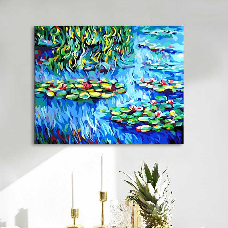 Water Lilies paintings pictures by numbers Claude Monet digital paint drawing Coloring painting by numbers with kits package