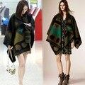 Brand Women Poncho Prorsum Cashmere Wool Scarf  Olive Green Poncho Prorsum Cape Plaid Winter Check Blanket Poncho bufanda manta