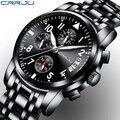 Luxus Marke CRRJU Männer Militär Sport Quarzuhr Business Edelstahl Uhr Datum Herren Chronograph Wasserdichte Uhr Uhren-in Quarz-Uhren aus Uhren bei