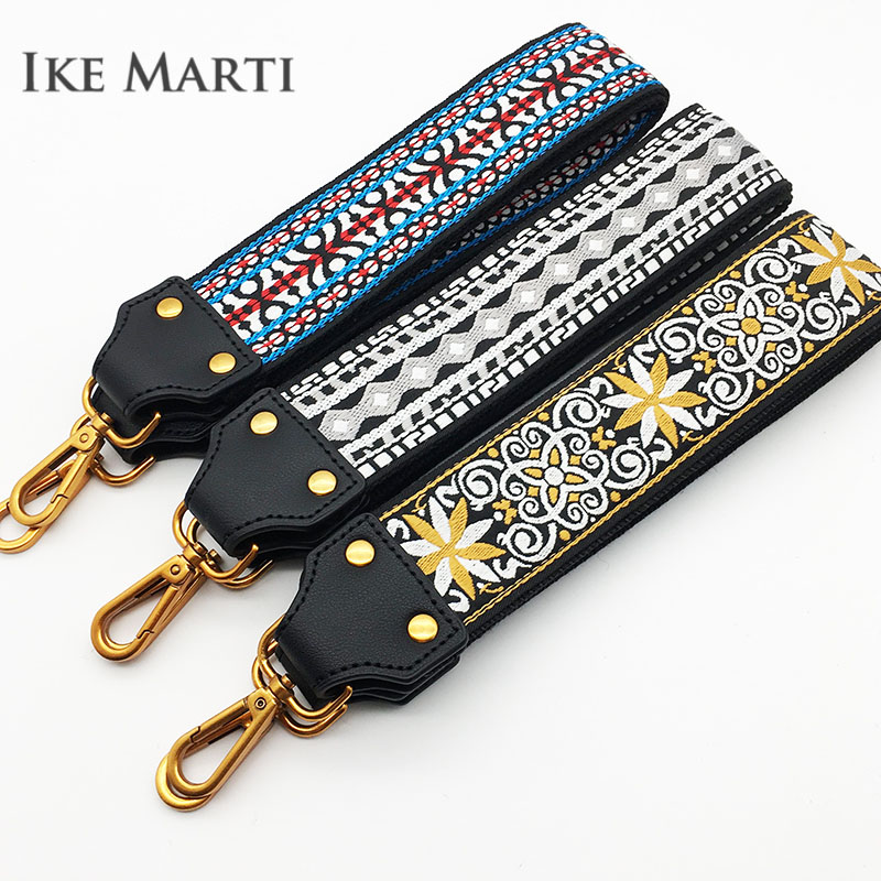 Ike Marti Wide Strap For Bags Women Embroidery Nylon Belt Straps Bag Accessories For Handbags Cotton Black Shoulder Bag Strap