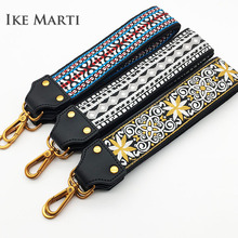IKE MARTI Wide Strap for Bags Women Embroidery Nylon Belt Straps Bag Accessories Handbags Cotton Black Shoulder
