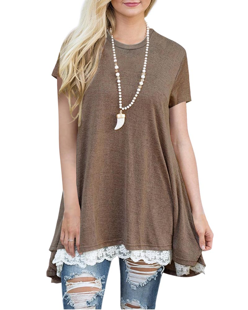 Hitmebox 2018 New Summer Womens Fashion Casual Short Sleeve Loose Lace Hem Tunic Tops Solid Color A Line Scoop Neck Tee Shirts