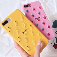 Cute Luxury Case for Iphone 6 6S Plus X Xs Max Xr Phone 7 8 Cover Fruit embroidery design Strawberry pineapple