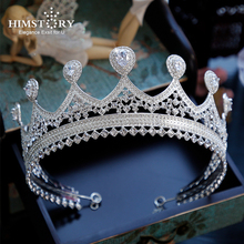 Himstory Bride Cubic Tiaras and Crowns Wedding hair jewelry  Queen King Diadem Prom Headdress Crystal Crown Luxury Pageant Crown