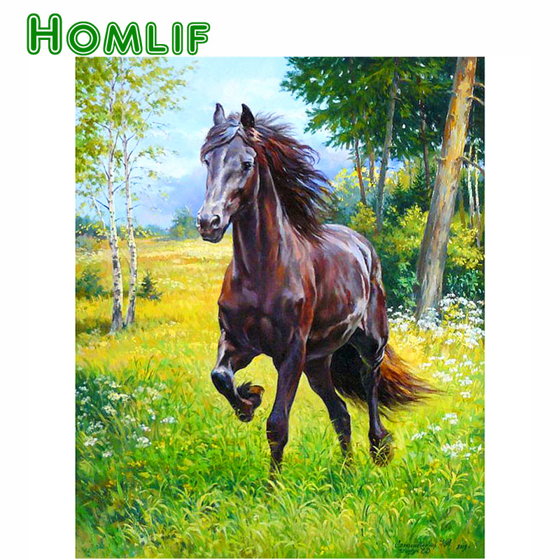 Crafts 5D DIY Diamond embroidery forest running horse diamond painting Cross Stitch full drill Rhinestone mosaic decor painting
