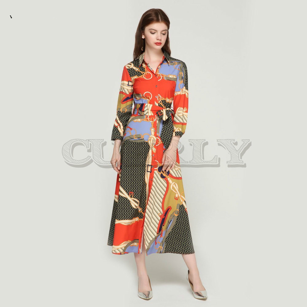 CUERLY women elegant patchwork print maxi dress bow tie sashes long sleeve pleated female office wear dresses