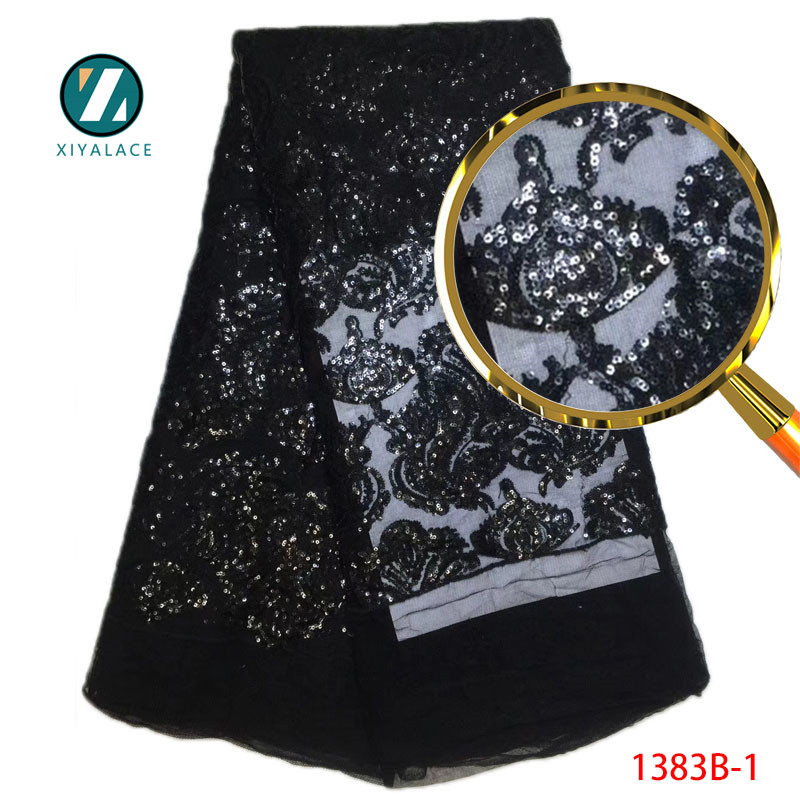 Sequin Fabric High Quality Nigerian Party Lace Fabric 2018 African Tulle Lace Fabric Fashion Tulle Mesh Sequisn Lace PGC1383b-2